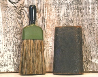 Lint brush and wool shammy with leather binding
