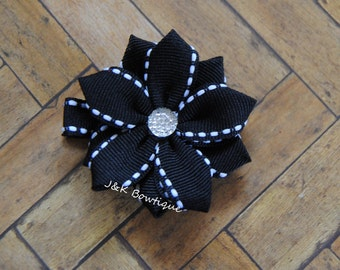 Mini Ribbon flower.....Black with white with silver center