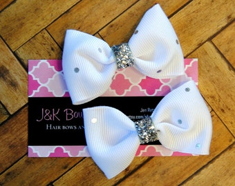 White with mini silver dots...set of 2 mini bows....pigtails