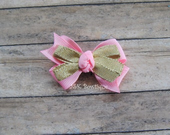 Double layer classic bow...Light pink and gold
