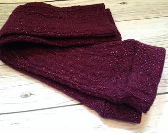 Solid Sparkly Dark Purple Leggings or Arm Warmers for Babies and Girls