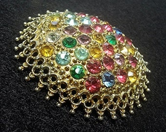 Gorgeous Multicolor Rhinestone Vintage Domed Pin Brooch