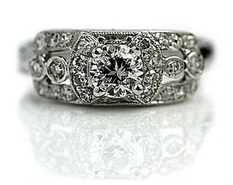 Vintage Diamond Engagement Ring .95ctw Old European Cut Diamond Wedding Ring 14K White Gold Vintage Diamond Ring Size 5.5!