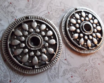 Large 33mm Round Ethnic Charms Connectors Pendants or Earring Findings - Oxidized & Antiqued Silver Sterling Plated Pewter - Qty 2