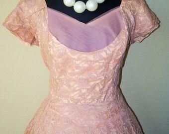 Vintage 1950s Tea Time Lace Chiffon Tulle Party Dress Sz L