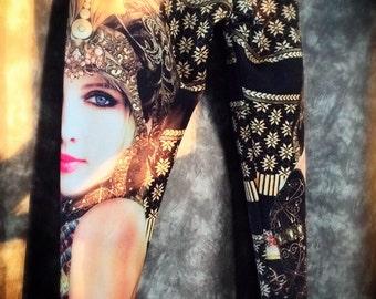 model print legging / black gold pattern legging / Halloween costume / border print pant