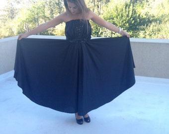 80s dress ~ strapless. Sequins.