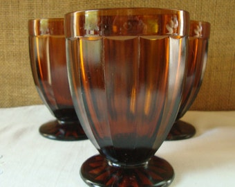 3 VINTAGE AMBER Pedestal Goblets Deep Amber Heavy Structured Glassware Star Pattern Bottom Mid Century Mod Drinking Glasses Wine Water