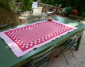 Red Table Cloth Red Check. Vintage Table Runner .  Medium. Excellent Condition