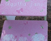 Custom Kids Step stool Elephants Butterflies PINK Childs Step Stool Bench Kids Furniture Bathroom Stool