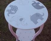 Reserve 1 walters Tables Nursery Decor, PINK Grey ELEPHANTS, Taylor PB Nursery Round nightstand table Kids &d Baby Furniture Custom