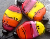 Jelly - Handmade Lampwork Bead Set (7) by Anne Schelling, SRA