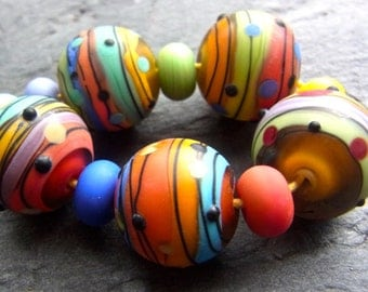 Summer Stripes - Handmade Lampwork Bead Set (11) by Anne Schelling, SRA
