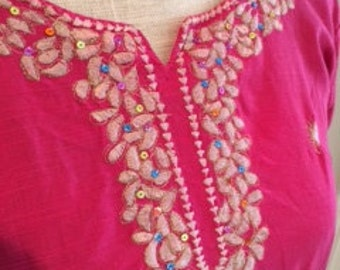 Fuschia Linen Vintage Embroidered Tunic Blouse with Sequin Accents