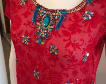 Red & White Floral 2 Piece Fancy Beaded Vintage Tunic Pants Set