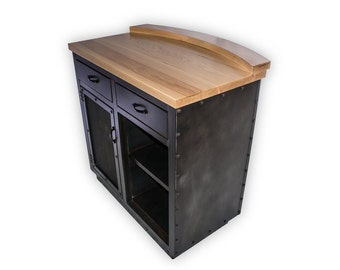 Custom Hostess Stand, Host Stand, Podium, POS, Point of Sale, Solid Wood Top & Steel Base, Valet, Kiosk, Restaurant Furniture