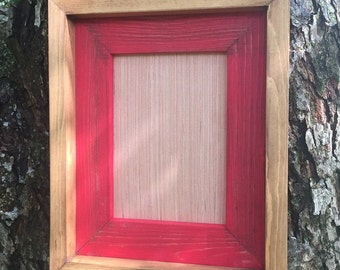 11 x 14 Rustic Picture Frame, Red Rustic Weathered, Stacked And Stained, Rustic Home Decor, Wooden Frames, Rustic Frames, Rustic Wood Frame