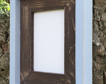 8.5 x 11  Stacked and Painted Frame, Brown and Light Blue Rustic Wood Frame, Document Frame, Rustic Home Decor, Rustic Wood Frames, Rustic