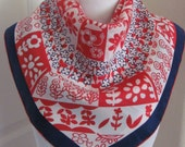 """Beautiful White Blue Red Soft Silk Scarf // 23"""" Iinch 58cm Square"""