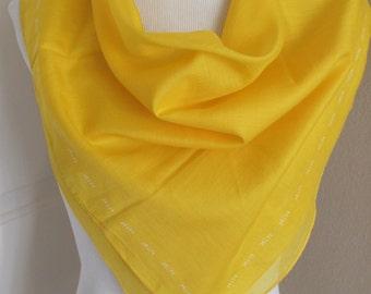 "Glentex Nik // Solid Yellow Cotton Scarf // 22"" Inch 53cm Square"