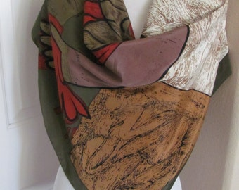 """Beautiful Brown Green Picasso Large Soft Poly Scarf // 34"""" Inch 88cm Square - Nice"""