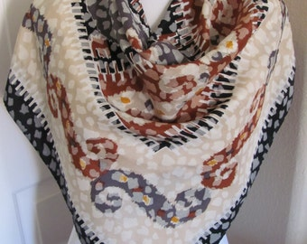 """WOW!!  Beautiful Ivory Brown Large Silk Scarf  // 35"""" Inch 90cm Square // Best of the Best"""