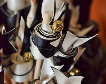 Ivory Black Wedding  Ribbon Wands with Bells Great for Ceremonies, Events, Sport Cheering-100 count Double Ribbon