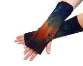 Fingerless gloves, hand-felted, autumn colors, for winter