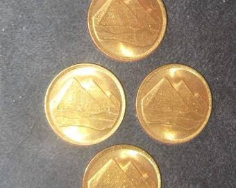 Wholesale Lot Of 4 -18MM Gold Brass Tone Egypt Egyptian Pyramid Coins