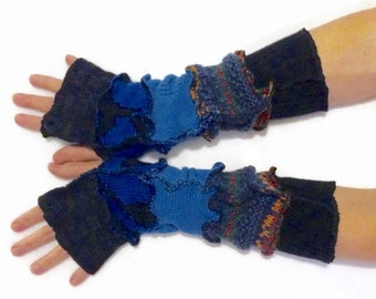 Upcycled Fingerless Gloves  Blue Black Armwarmers Recycled Wrist warmers Stripe Gloves Knit Gloves Fingerless Mittens Arm Warmers