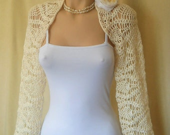 LIQUIDATION Stock SALE 30% OFF / Bridal Shrug Bolero Wedding Bridesmaid Accessories Hand Knitted Crochet Ivory Jacket Cardigan Women Capelet