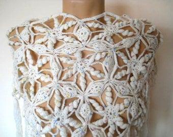 SALE Bridesmaid PONCHO CAPELET / Wedding Bridal Accessories Crochet Chic Cape, Women Elegant Shrug Romantic Shoulder Hand Knitted Gift Ideas