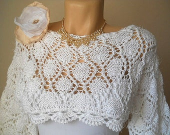 Women PULLOVER SWEATER / Wedding Bridal Accessories Cape Hand Knit Shrug Bolero Gift Ideas / Crochet Elegant Jacket Cardigan Capelet Chic