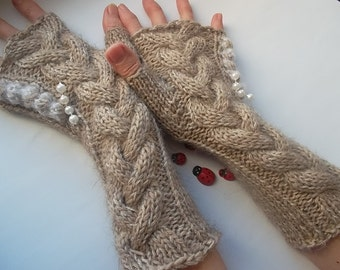 HAND KNITTED GLOVES / Women Accessories Fingerless Mittens Elegant Warm Wrist Warmers Arm Crochet Winter Chic Romantic Cabled Gift Ideas 347