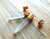 S T A R D U S T  S T U D S // Angel Aura Quartz Earrings with 22k Gold Plate // Post