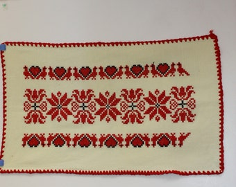 Hungarian Embroidery Vintage Runner Hanging Cross Stitch