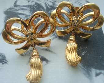 Dramatic Gold Tone and Rhinestone Bow Dangle Earrings
