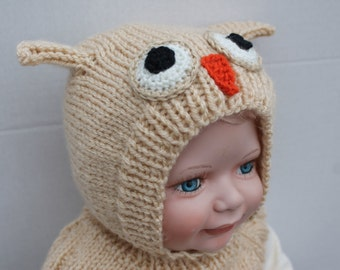 Clearance. Hand Knit Baby Seamless Owl Helmet. 3 - 6 months. Baby Owl Hat