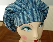 Blue wavy Leaves Banded Bouffant Surgical Cap