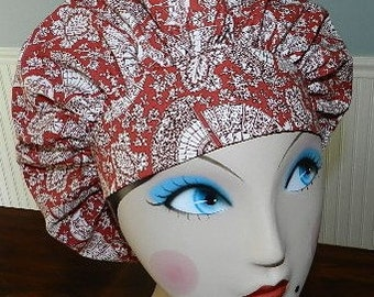 Fans on Red  Banded Bouffant Surgical Cap / Bakers Cap