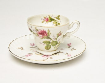 Bone China Demitasse Cup and Saucer Mismatched Pattern