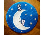 Cat Patch -Embroidered Patch - Cats on the Moon - Glow in the Dark - Cats - Kittens - Stars - Space - Moon - Man in the Moon