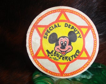 Vintage Special Deputy MOUSEKETEER Cloth Patch or Badge DISNEYANNA MICKEY Mouse Club