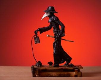 The Plague Doctor Statue - Original Polymer Clay Sculpture - Steampunk