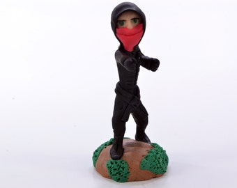 Pink Ninja Girl Punching - Original OOAK Polymer Clay Figurine - Cake Topper, Shelf or Desk Ornament or a Great Gift - Free US Shipping