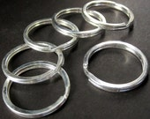 6 pcs - 30mm Silver Split Rings. Stainless Steel Key Ring. Flat Sided Keychain Ring.