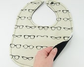 Ivory Geek Glasses Baby Bib Reversible Baby Snap Bib Non Velcro Bib Cotton Reversible Baby Bib Baby Shower Glasses Hipster Baby
