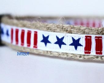 "America Dog Collar - Star Dog Collar - Handmade Collar - 5/8"" Wide Dog Collar - Small Collar - Adjustable - Red White Blue Collar - Patriot"