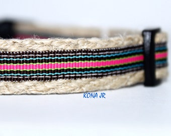 "Stripe Dog Collar, Coral and Brown Dog Collar, 5/8"" Wide Collar, Adjustable Dog Collar"