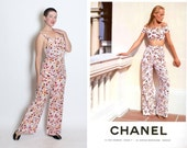 RARE 1990's does 1930's BeachPajama Couture Designer Resort Collection Documented Silk Logo Jumpsuit Overalls by CHANEL Boutique Paris - 40